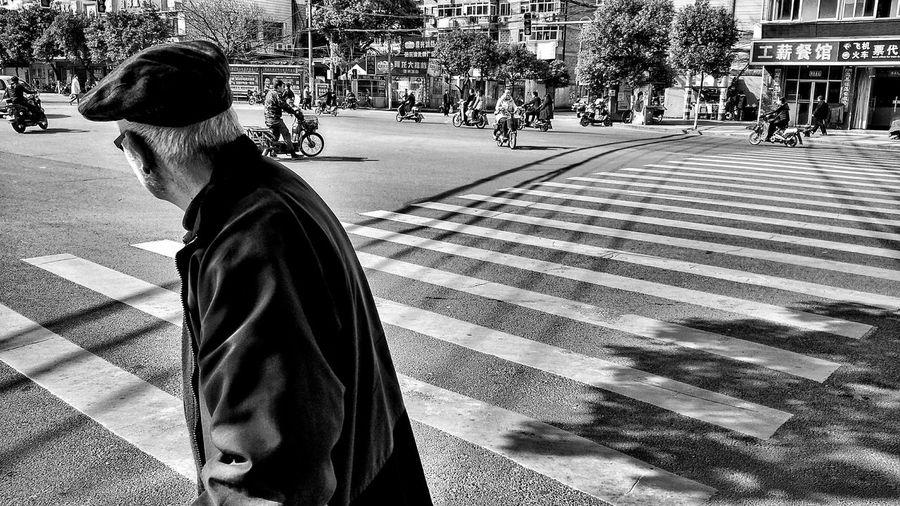 Man walking on city street