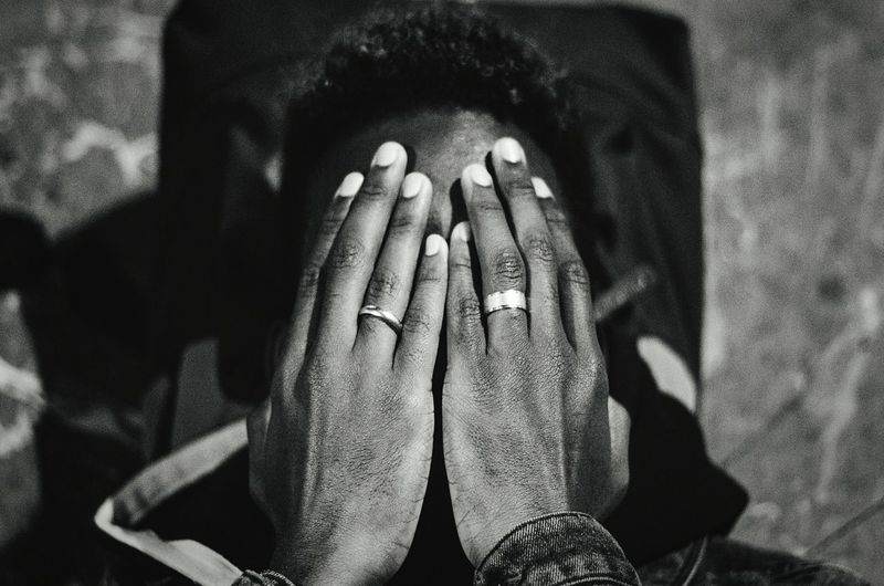 Shy. Close-up Shot Closeup Hands Black White Hands Blackandwhite Photo Friend Ring Hand Portrait Portraits Depression Deep White Black Shy Men Close-up Low Section Personal Perspective Inner Power