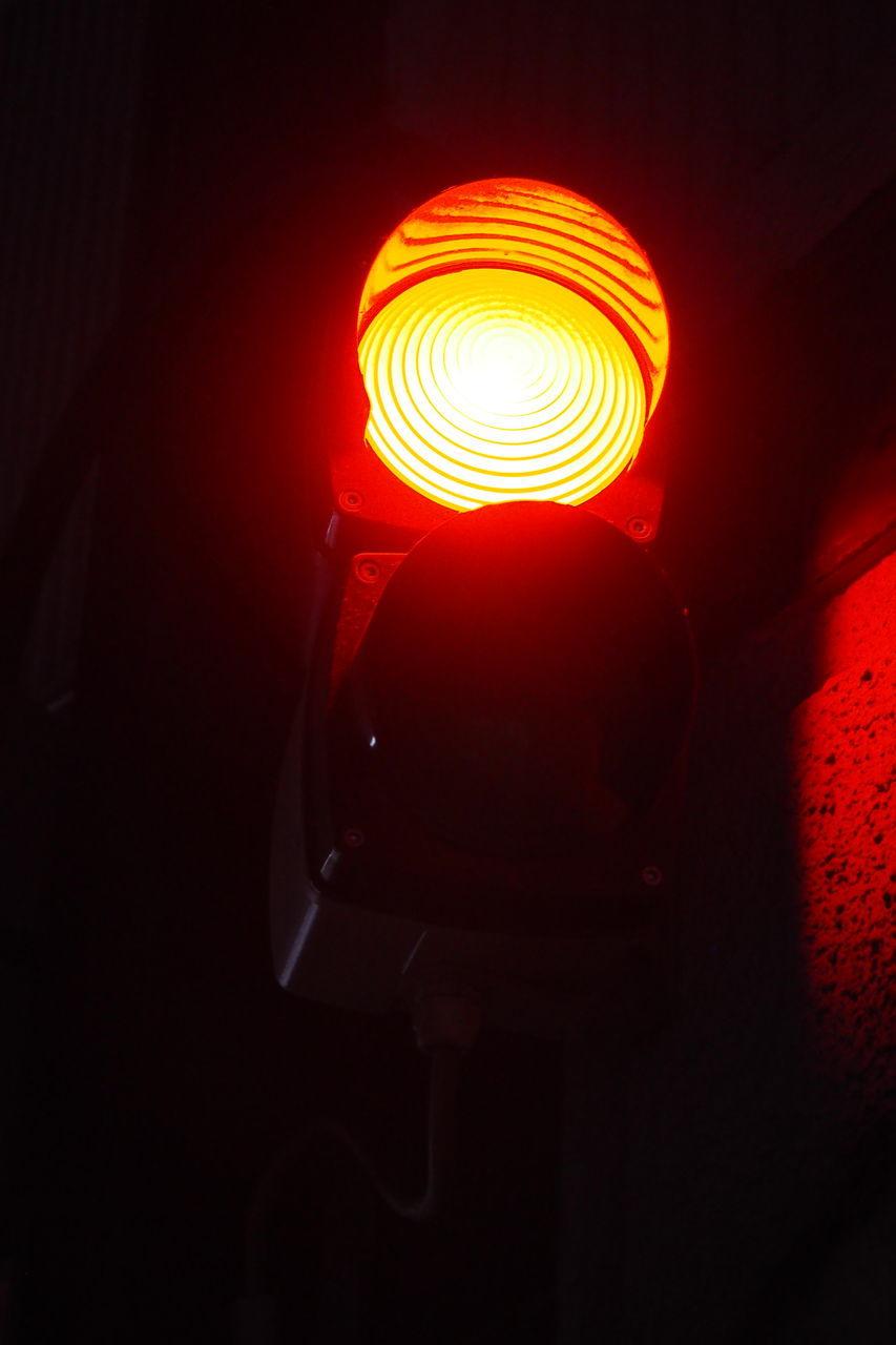 illuminated, lighting equipment, red, no people, indoors, night, close-up