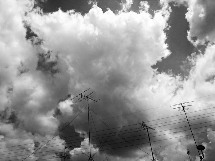 Black & White Photography Black And White Cloud No People Power Cable Power Lines Sky Sky And Clouds Tv Antennas
