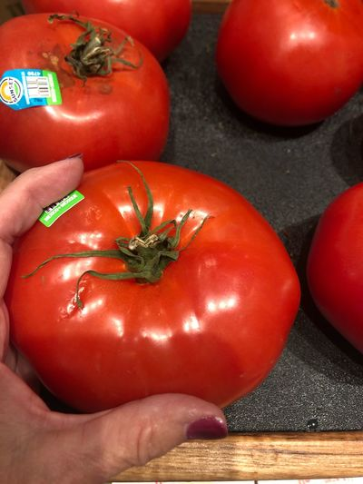 Close-up of hand holding red tomatoes