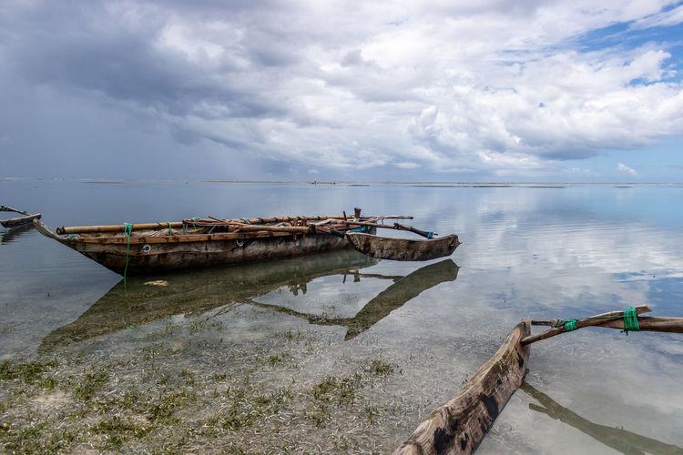 Water Nautical Vessel Boat Beauty In Nature Scenics - Nature Mode Of Transportation Tranquility Wallpaper Africa Tanzania Clouds Sea Fishing Boat Outdoors Horizon Over Water Transportation Zanzibar