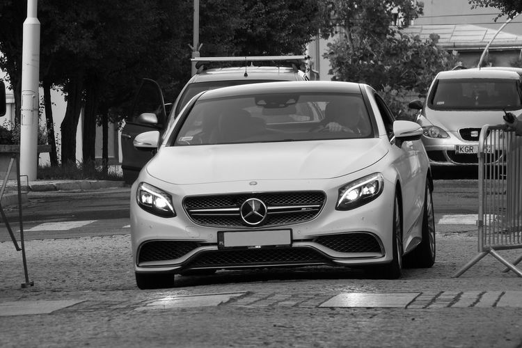 Blackandwhite AMG Mercedes Mercedes-Benz Blackandwhite C63 Car Carphotography Day Dreamcar Land Vehicle Mode Of Transport No People Outdoors Road Stationary Transportation Tree
