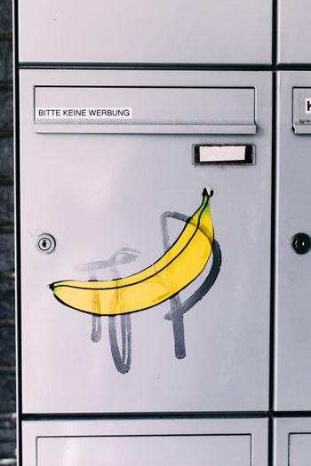 Art Is Everywhere Banana Banana Art Banana Graffiti Bitte Keine Werbung Briefkasten Close-up Day Dortmund Fruit Graffiti Art Metal No People Obst Pillar Box Postbox Postboxes Street Art Yellow Yellow Color