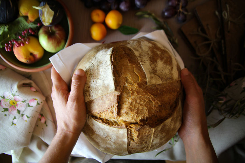 Bread Italian Bread Human Hand Fruit Table High Angle View Close-up Food And Drink Apple Pie Personal Perspective