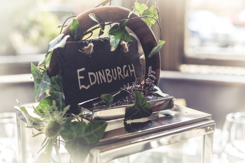 Edinburgh Sign Pretty Wedding Table Saying Flowers Thistle Scotland