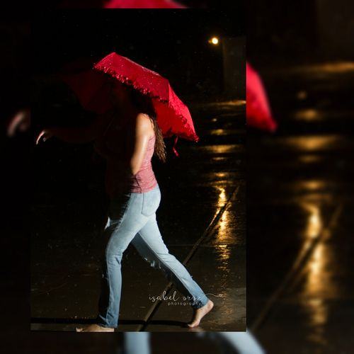 Rain One Person Red Night One Young Woman Only Raining Night Rainyweather Raindrops Raining Umbrella Singing In The Rain