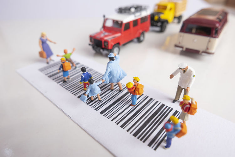 High angle view of toy car on table