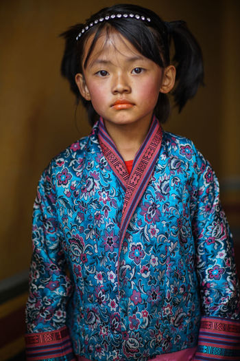 B Bhutan Diaries Blue Casual Clothing Close-up Custom Focus On Foreground Front View Leisure Activity Lifestyles Multi Colored Portrait Scarf The Portraitist - 2016 EyeEm Awards Traditional Culture