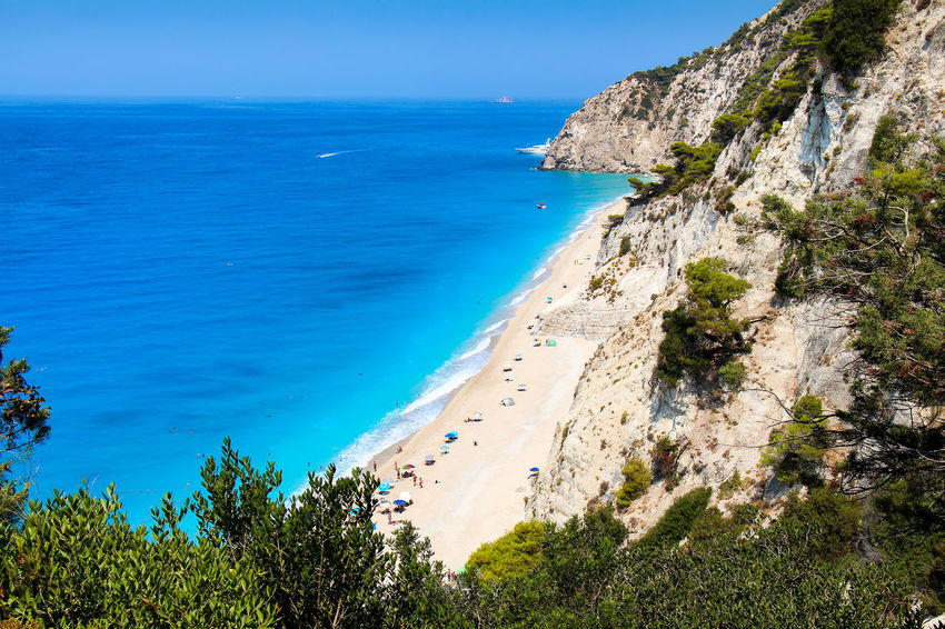 Egremni beach on the island of Lefkada, Ionian Sea, Greece Holiday Mediterranean  Vacations Beach Beauty In Nature Blue Cliff Day Fluroscent Greece High Angle View Ionian Sea Island Lefkas Mountain Nature No People Rock - Object Scenics Sea Sky Tranquil Scene Travel Destinations Turquoise Water
