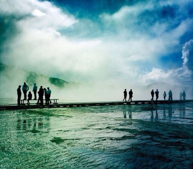 Close to the Grand Prismatic Spring. Vacations Cloud - Sky First Eyeem Photo Yellow Stones Grand Prismatic Spring Clouding The Smell Of Sulphur