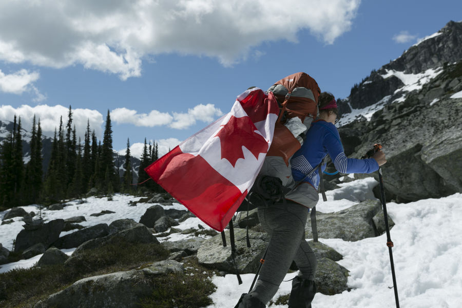 Hiking Adventure Beauty In Nature Blue Sky Canada Coast To Coast Cloud - Sky Cold Temperature Day Leisure Activity Mountain Mountain Range Nature Outdoor Photography Outdoors People Real People Rock Scenics - Nature Sky Snow Snowcapped Mountain White Color Winter Woman Hiking