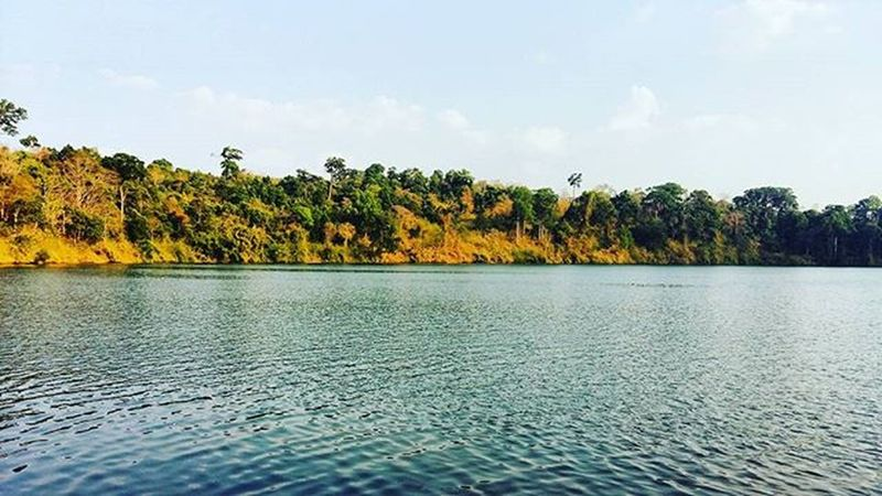 a Crater that turned into a Beautiful Lake 🌋 🌅 Mountain Peaceful Tranquil Lakewater Dryseason Ratanakiri Cambodia