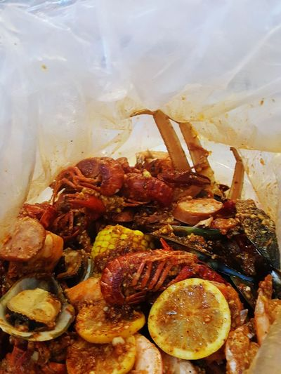 Crab Boil Deliscious Delisciousness..! Soulfood Food And Drink Crab Corn Sausage Shrimp! Potatoes Cajun Creole Crustacean Seafood Close-up Food And Drink Shrimp - Seafood Prawn Crab - Seafood Cooked Fish Market Boiled