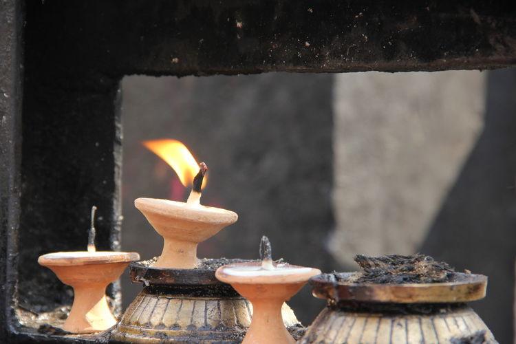 Close-Up Of Burning Diya