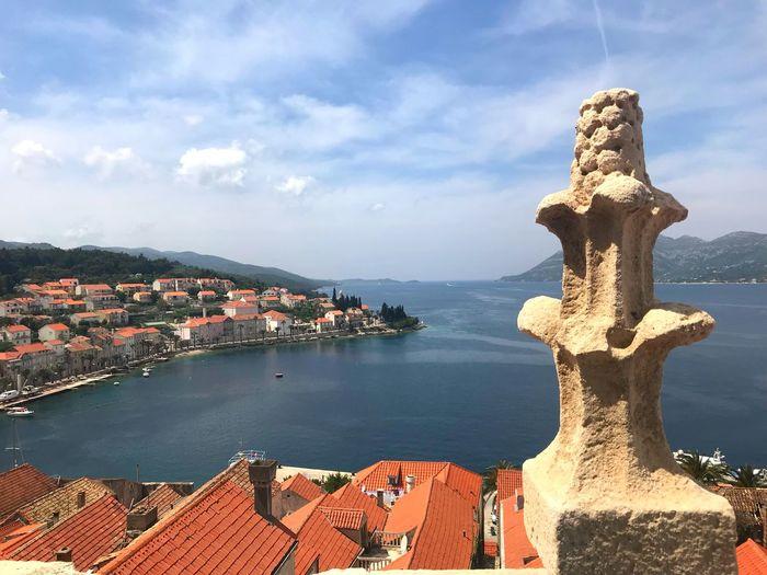 Croatia Travel Destinations Red Roofs Island Korčula Water Architecture Cloud - Sky Built Structure City Sea