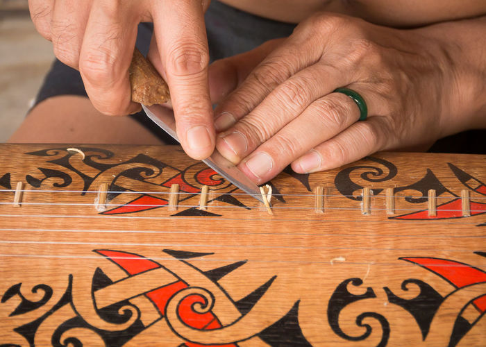 Midsection of man repairing string instrument