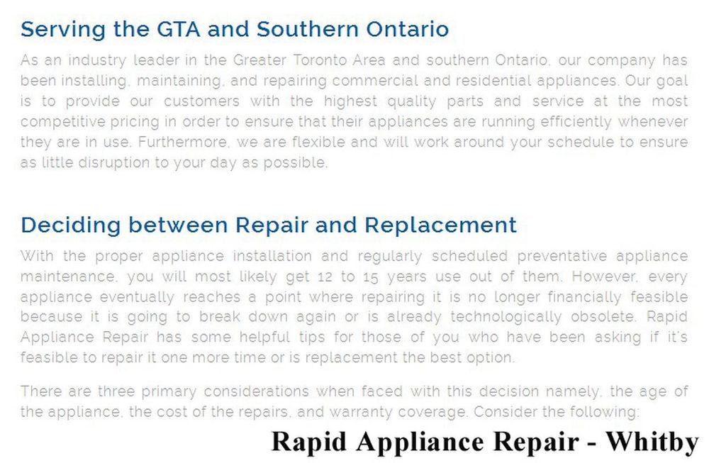 Rapid Appliance Repair 209 Dundas St E #301 Whitby, ON L1N 7H8 289-278-1358 Appliance Repair Whitby Appliance Repair Whitby ON Appliance Repair In Whitby Whitby Appliance Repair Whitby ON Appliance Repair