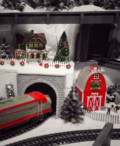 Toy Train Color Splash Railroad Track Railroad Car Train Car Train Set Christmas Christmas Decoration Christmas Tree Celebration Red Tradition Holiday - Event