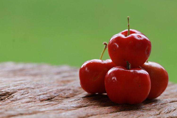 Red cherries on