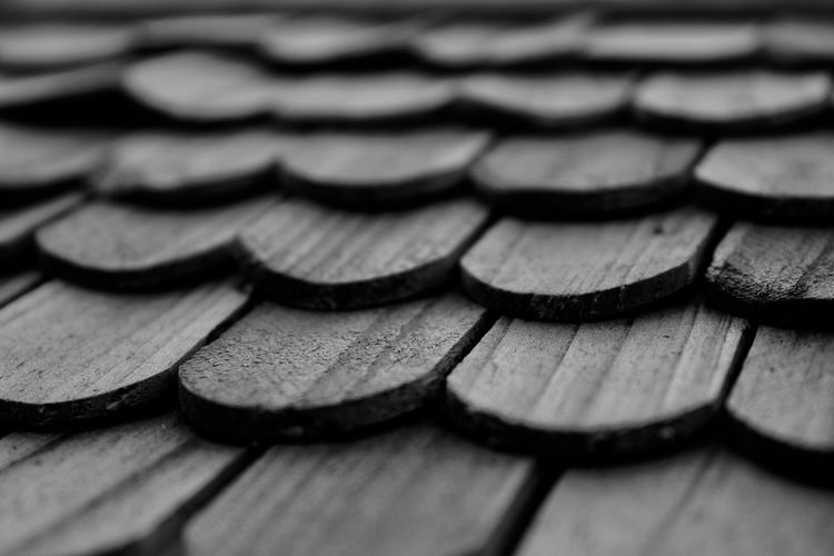 Black & White Roof Rooftop Wood Backgrounds Black And White Blackandwhite Close Up Close-up Full Frame Large Group Of Objects No People Outdoors Pattern Roof Tile Roofs Rooftops Shape Stack Textured  Tile Tiles Timber Wood - Material Wooden