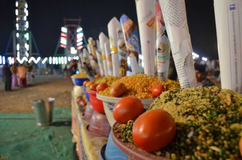 Row of food in container at market stall