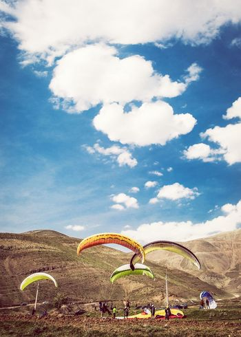 Paragliding Groundhandling Clearsky Blue Sky Clouds Damavand Tourism Leisure Activity Vacations Lifestyles Enjoyment Weekend Activities Adventure Tehran, Iran 5D Mark Iii Fresh On Eyeem