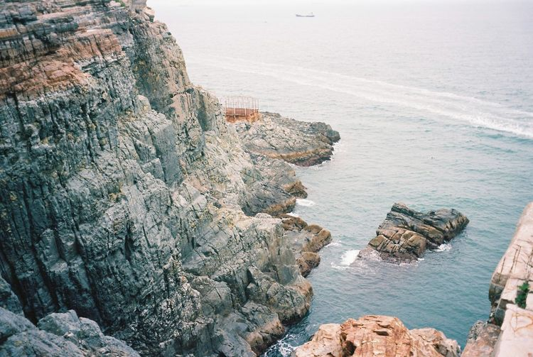 High angle view of rocky beach