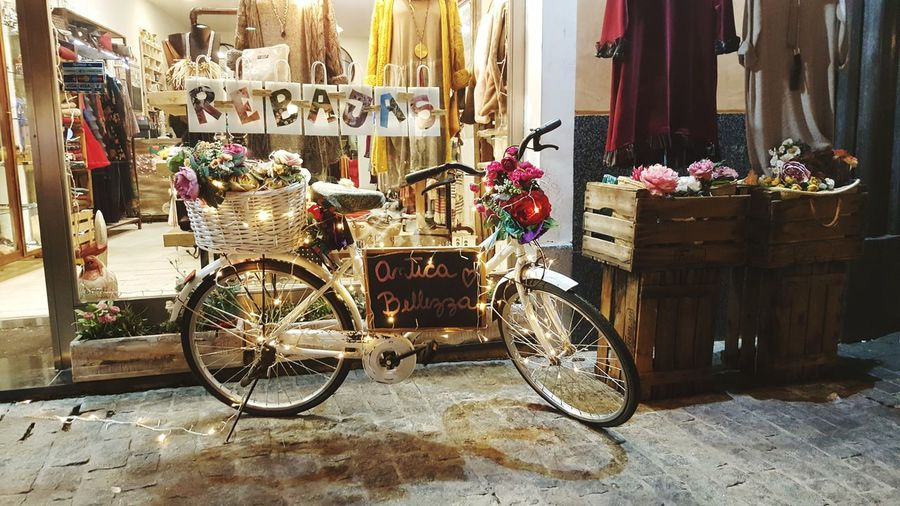 Christmas bicycle Cristmas Street Madrid Retail  For Sale Store Small Business Bicycle Market Variation No People Outdoors