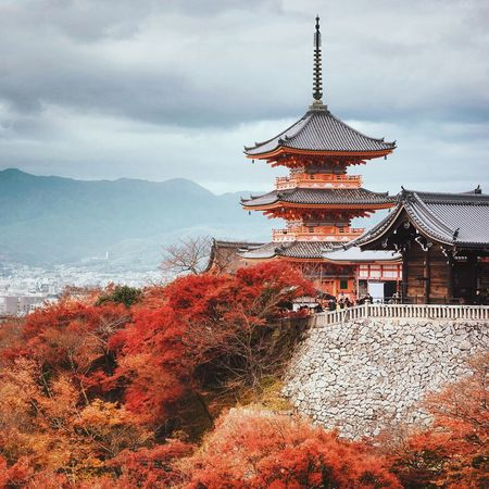 Architecture Autumn Built Structure Cloud - Sky Day Maple Moutain Orange Outdoors Red Sky Temple Tower Travel Destinations Tree Wood