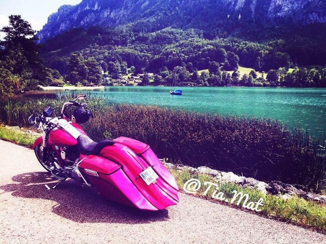 Day Transportation Outdoors Sunlight Nature Beauty In Nature Tree Water Real People One Person Mountain Scenics Sky Harleydavidson Harley Davidson Baggerstyle Pink Color Lake Austria Austria ❤