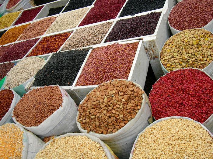 ASIA Bags Beans Burma Cookery Cooking Cuisine Dry-goods Drygoods Food Grain Ingredients Market Measures Myanmar Rice Sacks Sale Staple Travel Weight Corn Peas