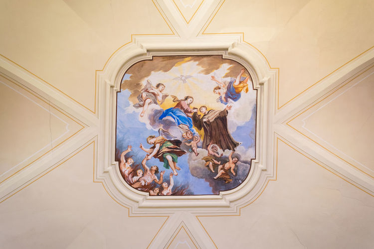 Low angle view of people on ceiling