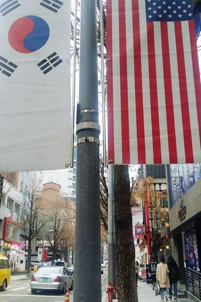 Korean Flag American Flag Country Flags Flags Garosugil Road Seoul South Korea Seoulspring2017