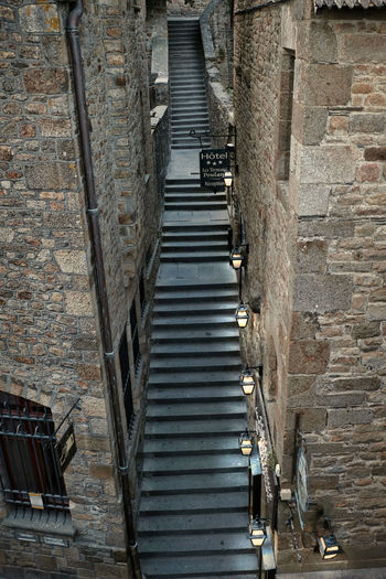 France Le Mont-Saint-Michel Light Stairway Alley Architecture Building Building Exterior History No People Old Outdoors Stages Staircase Steps And Staircases The Past Wall