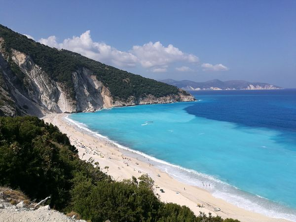 Beautiful Myrtos beach at Kefalonia... Beach Sea Sand Island Coastline Water Turquoise Colored Idyllic Tropical Climate Vacations Tourism Landscape Tourist Resort Travel Summer Nature Scenics Cloud - Sky Travel Destinations Kefalonia, Greece Mobile Photography P9 Huawei Lost In The Landscape