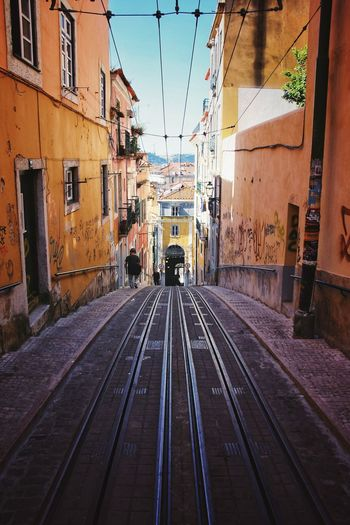 Lisbon Portugal City Railroad Track Rail Transportation Public Transportation Sky Architecture Building Exterior Built Structure Tramway Cable Car Tram Track Abbey Moving The Great Outdoors - 2018 EyeEm Awards The Street Photographer - 2018 EyeEm Awards The Traveler - 2018 EyeEm Awards