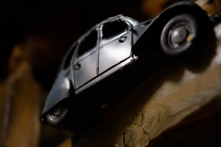 FUJIFILM X-T2 Japan Japan Photography Black Color Car Close-up Display Equipment Focus On Foreground Fujifilm Fujifilm_xseries Metal No People Object Selective Focus Single Object Tin Car Tin Toy Toy Transportation X-t2