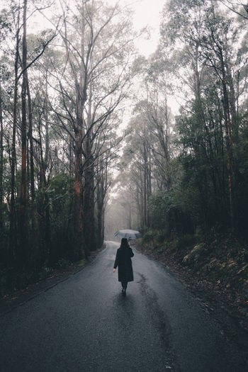 Rear view of woman walking on road in forest