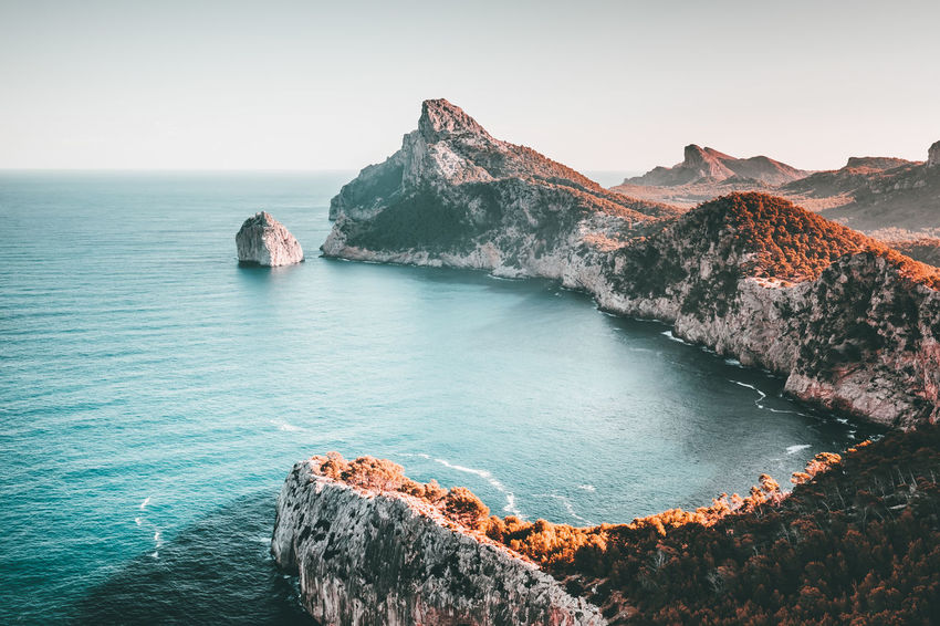 Majorca Mediterranean Sea Rocky Coastline Atmospheric Mood Beauty In Nature Cliff Day Formentor Horizon Over Water Idyllic Majestic Moody Mountain Mountain Peak Nature No People Outdoors Remote Rock - Object Rock Formation Scenics Sea Tranquil Scene Tranquility Water