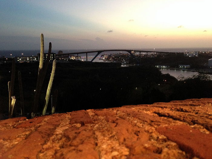 View from Fort Nassau over Willemstad harbor Architecture Artistic Colours Bridge - Man Made Structure Built Structure By Night Cactus Colorful Nightfall Day Evening View Of Sky &Water Fort Nassau Juliana Bridge Nature No People Outdoors Sea Sky Sunset Water Willemstad