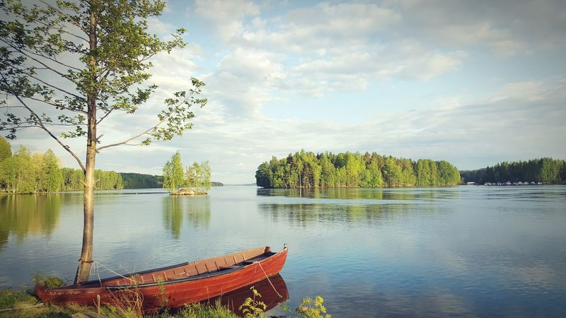 Heinola Finland Summer Boat River Riverside Cellphone Photography Peaceful Tranquility Nature