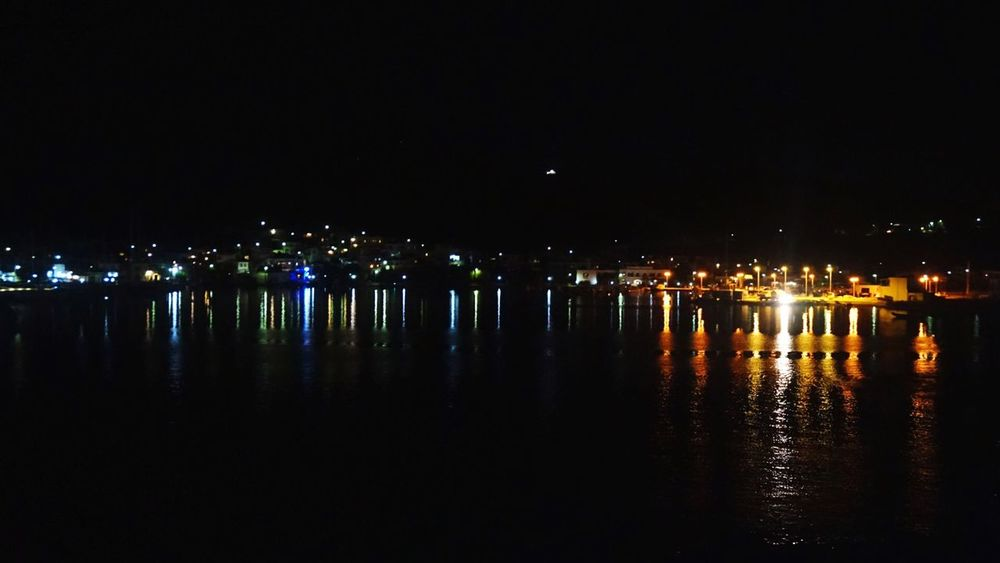 Reflection Water Illuminated Waterfront Nautical Vessel The City Light Miles Miles Miles High Angle View Peace And Quiet Night Lights Contrast Greece Islands Welcome To Black