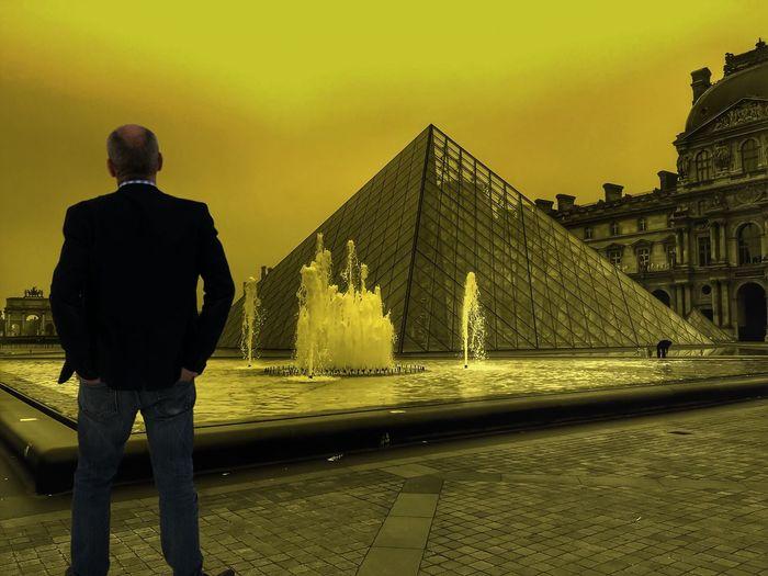 Yellow Pyramide Du Louvre Man Alone The Street Photographer - 2016 EyeEm Awards The Essence Of Summer Paris ❤ FR