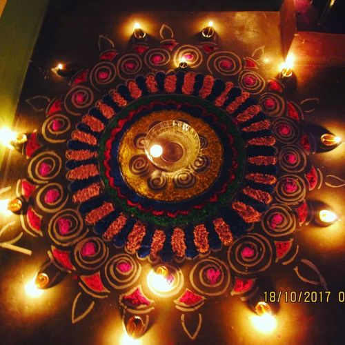 Indian Diwali. : rangoli Illuminated Flame Diya - Oil Lamp Religion Celebration Traditional Festival