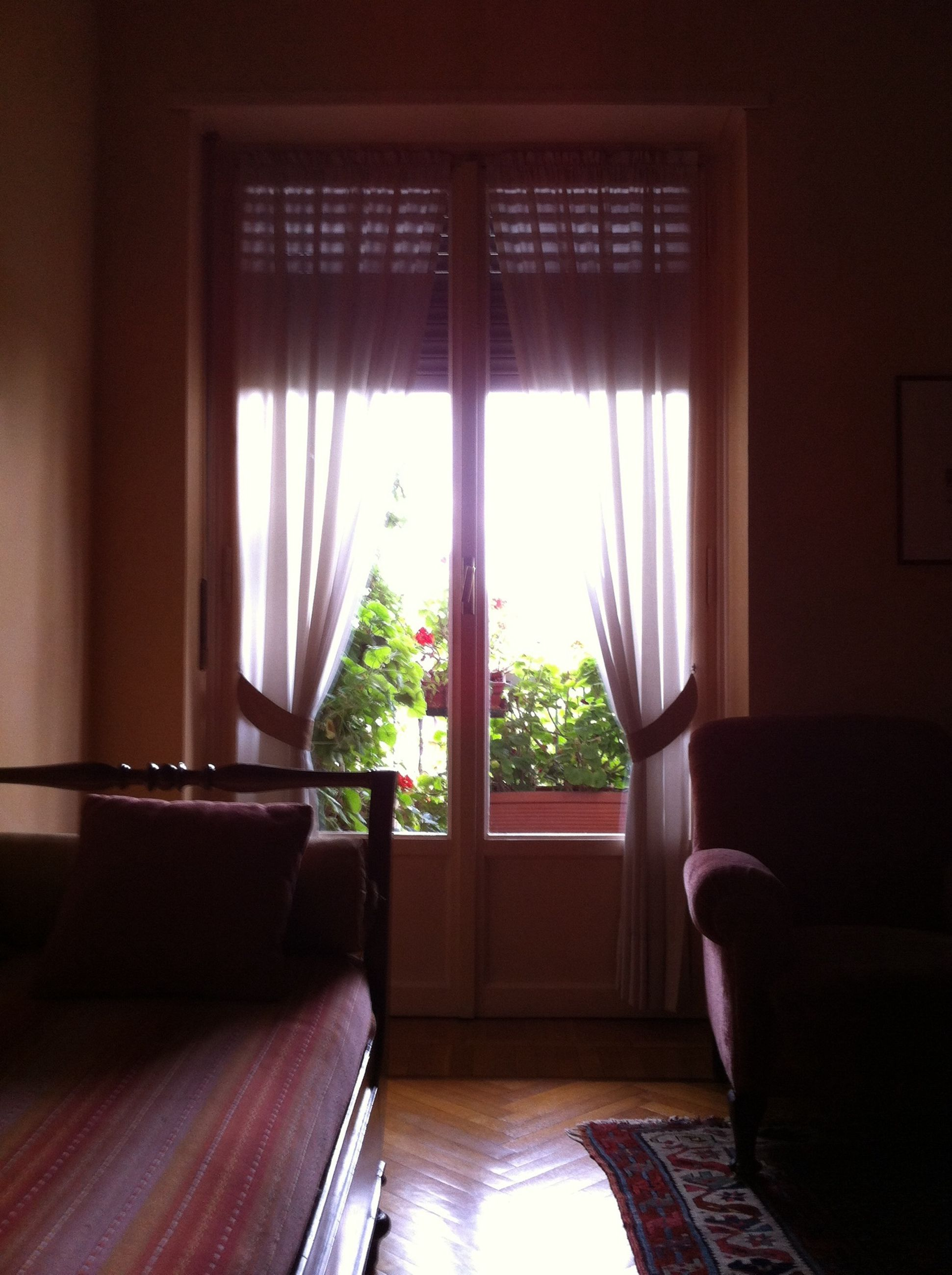 window, indoors, glass - material, home interior, house, transparent, curtain, absence, architecture, chair, built structure, potted plant, window sill, sunlight, open, table, empty, day, door, no people