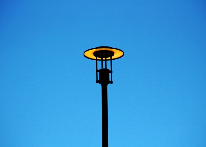Blue Lamp Post Light Fixture Exterior Light Sky Clear Sky Outdoors No People Day Canon Eos Rebel SL1 Street Light Light Pole Lightpost Light Post No Clouds Blue Sky