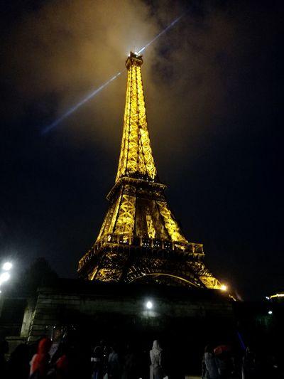 Illuminated City Cityscape Eiffel Tower Night Holiday - Event Sky Tower Foggy