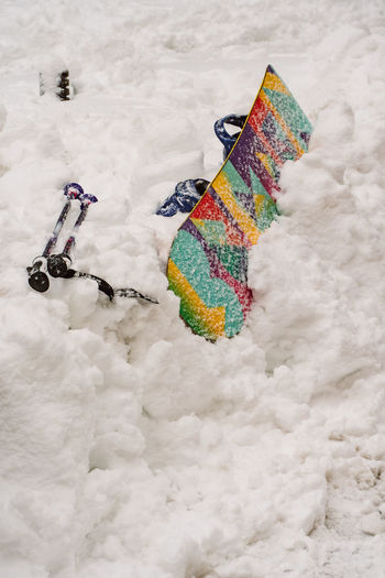 High angle view of multi colored umbrella on snow covered field