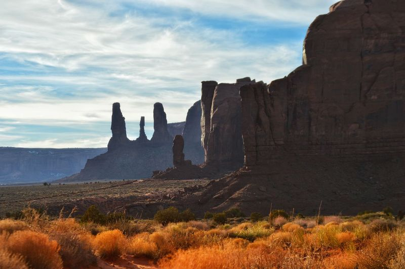 Monument Valley Against Cloudy Sky